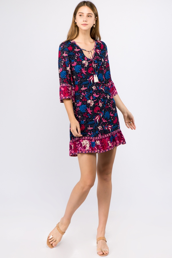 FLORAL PRINTED 3/4 SLEEVE DRESS WITH - orangeshine.com