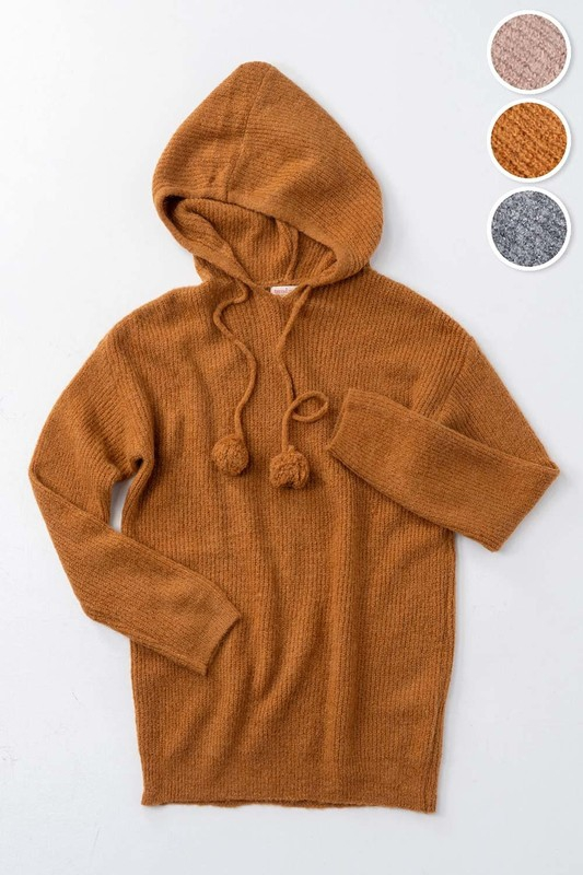 Knit Hoddie with Ball String - orangeshine.com