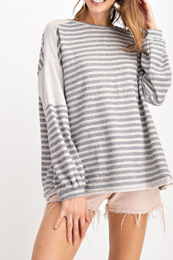 STRIPE KNIT BOXY TOP - orangeshine.com