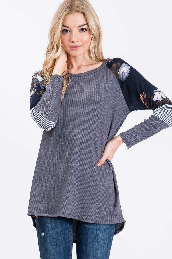 THERMAL TOP WITH SHOULDER DETAIL  - orangeshine.com