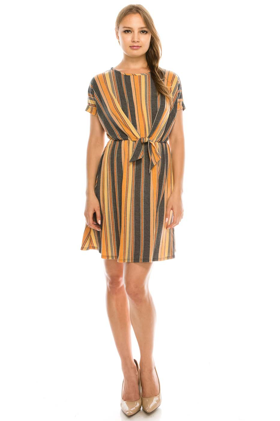 Pin Stripe Waist Tie Dress - orangeshine.com