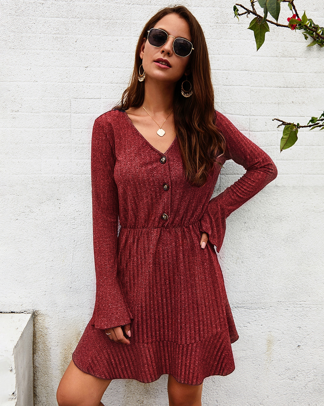 V Neck Long Sleeve Knit Swing Dress - orangeshine.com