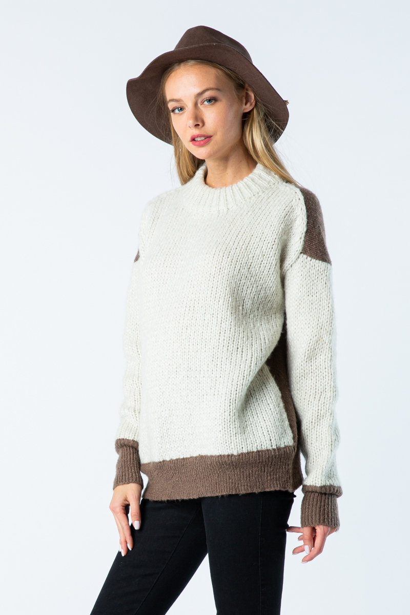 MOCK NECK BACK CONTRAST SWEATER - orangeshine.com