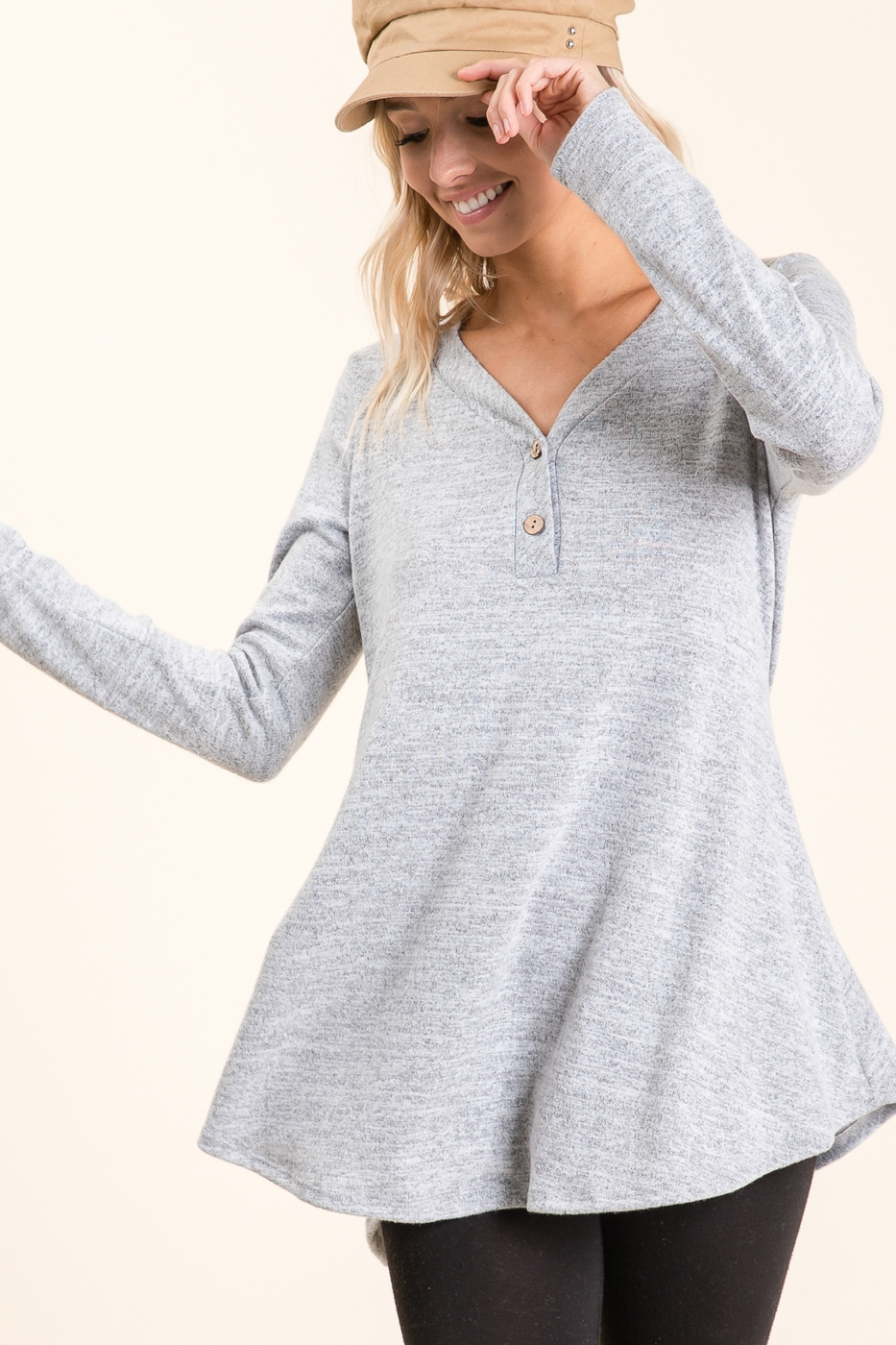 Long Sleeve Button Tunic Top - orangeshine.com