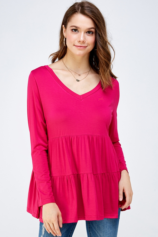Tiered V-Neck Long Sleeve Top - orangeshine.com