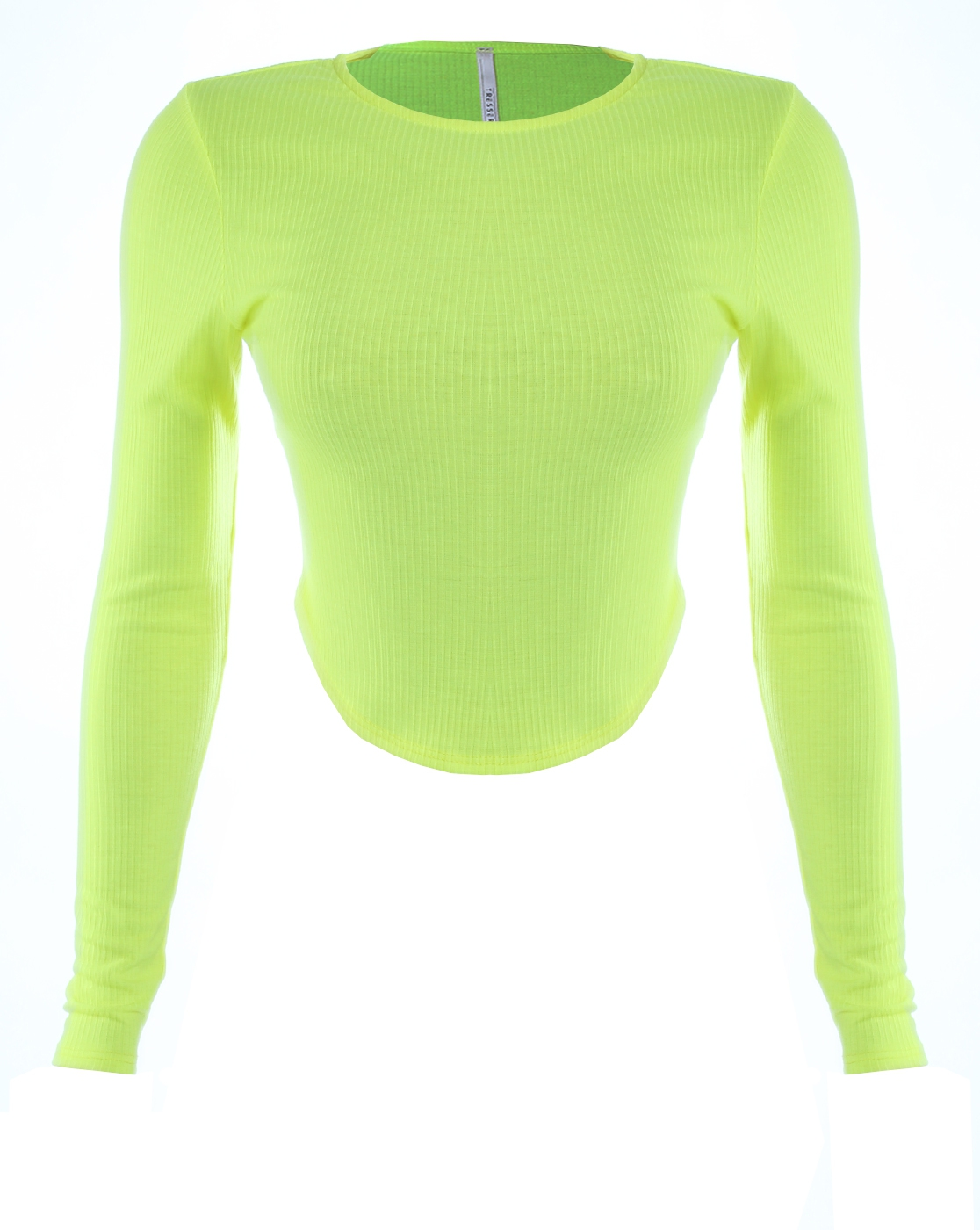 RIB LONG SLEEVE CROP TOP NEON YELLOW - orangeshine.com