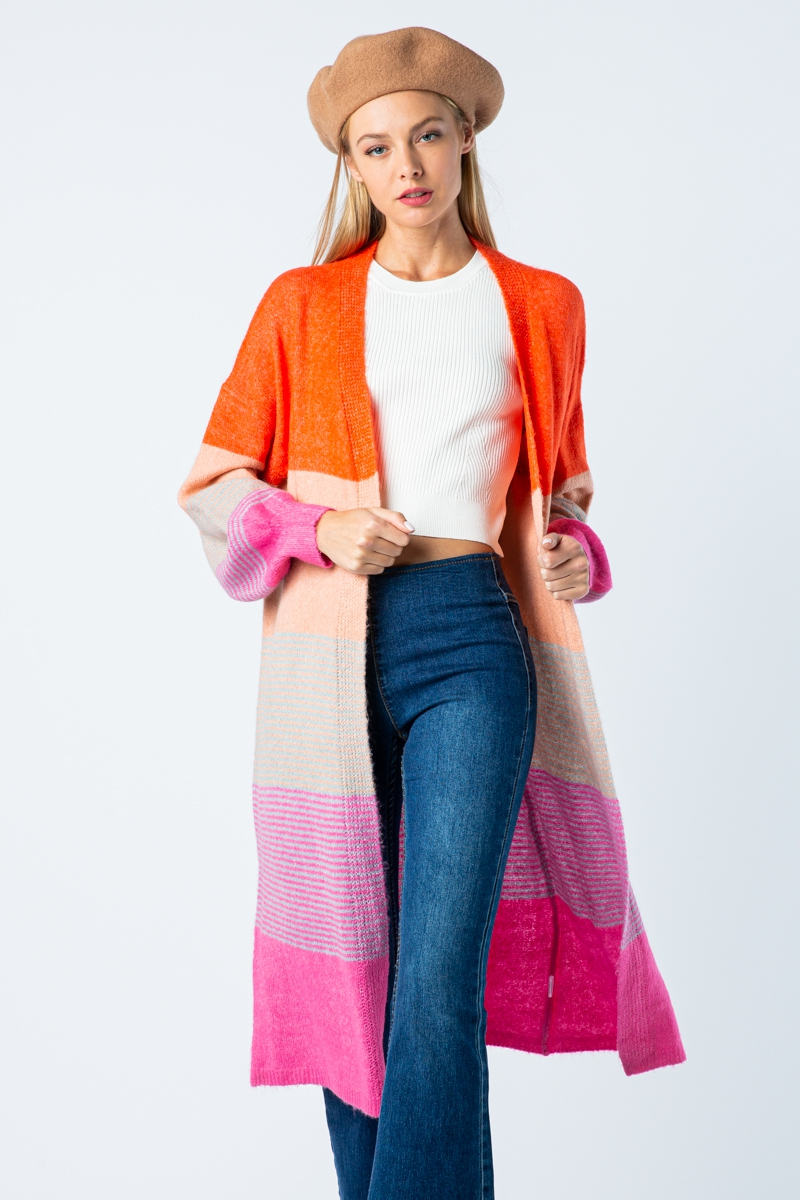 MULTI COLOR BLOCK LONG BODY CARDIGAN - orangeshine.com