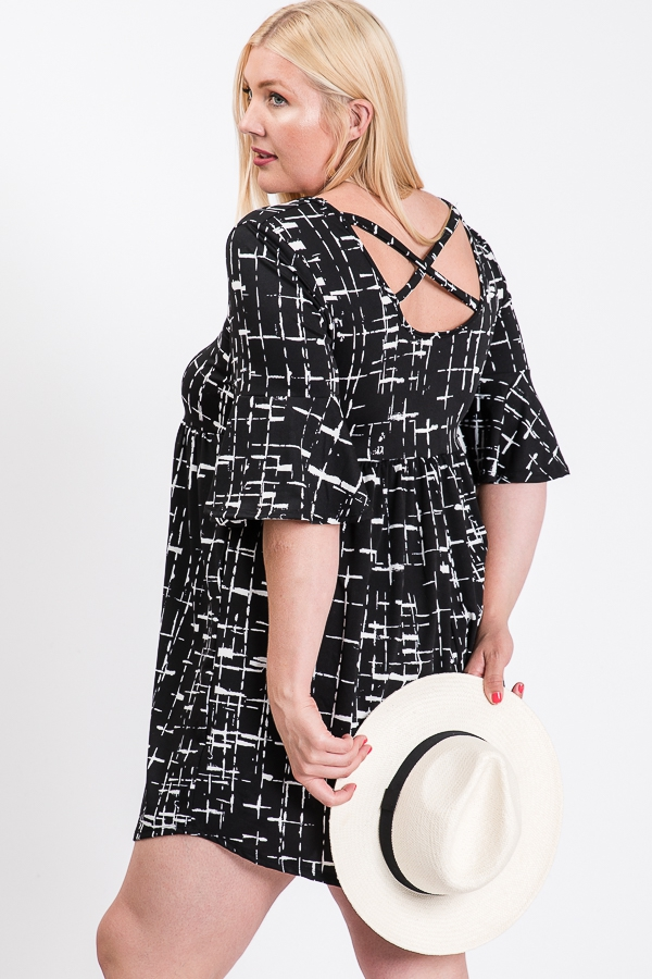 Plus size Tunic Dress with Crossback - orangeshine.com