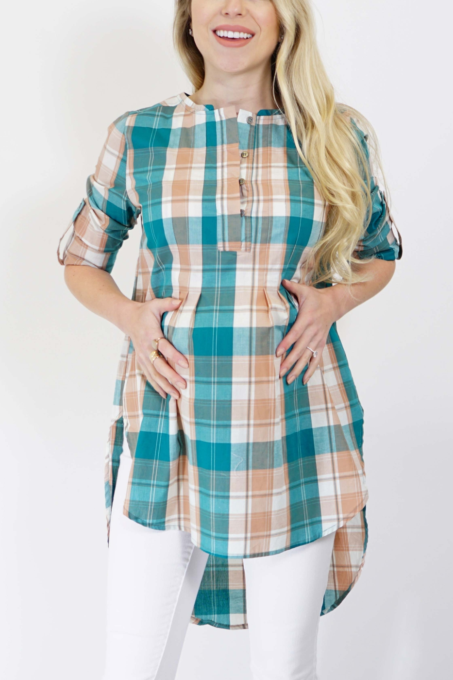 Plaid Spring Maternity Top - orangeshine.com