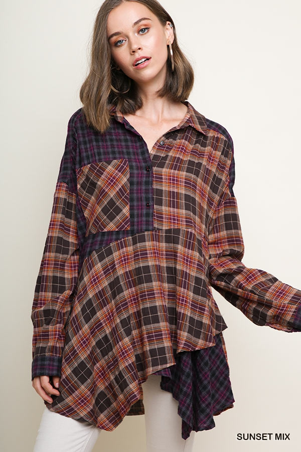 Multi-Plaid Print Collared Tunic - orangeshine.com