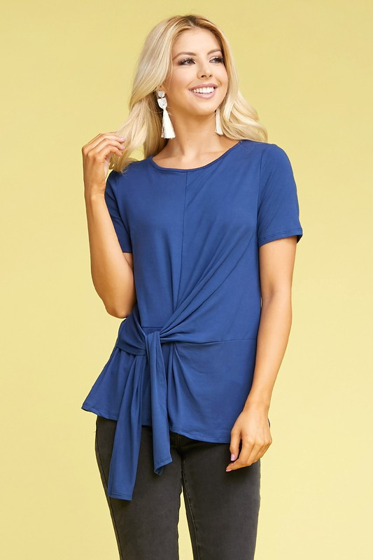 PLUS SHORT SLEEVE ROUND NECK TIE TOP - orangeshine.com