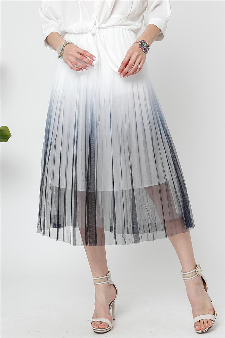 OMBRE MESH PLEATED FLARE MIDI SKIRT - orangeshine.com