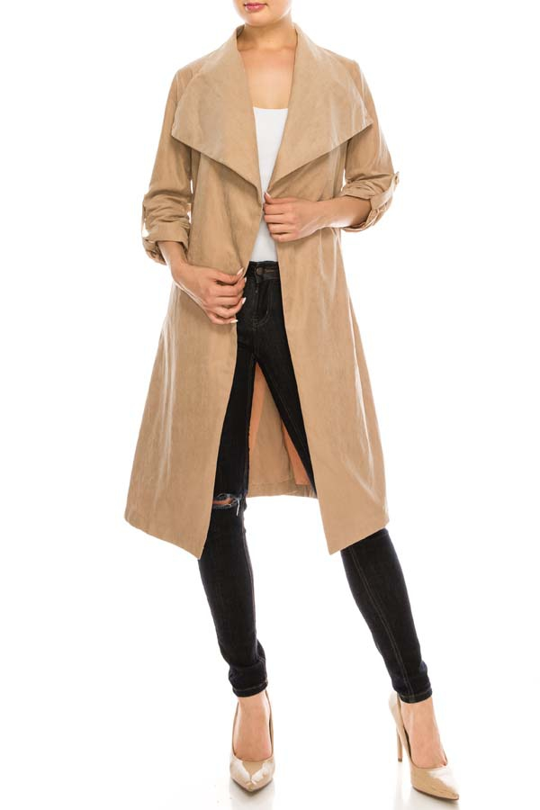 Suede Trench Coat with Self Belted - orangeshine.com