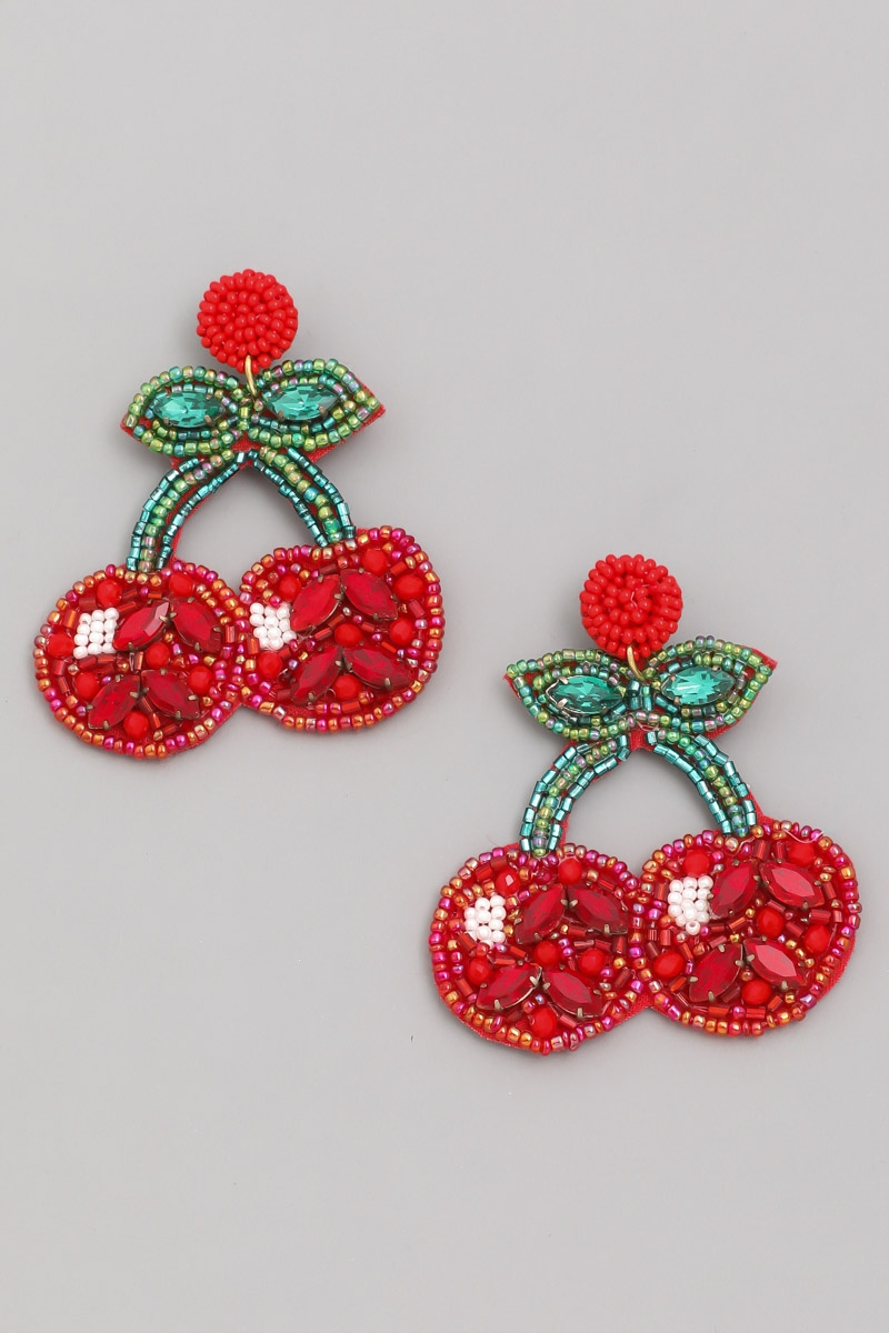 Jeweled Cherry Drop Earrings - orangeshine.com