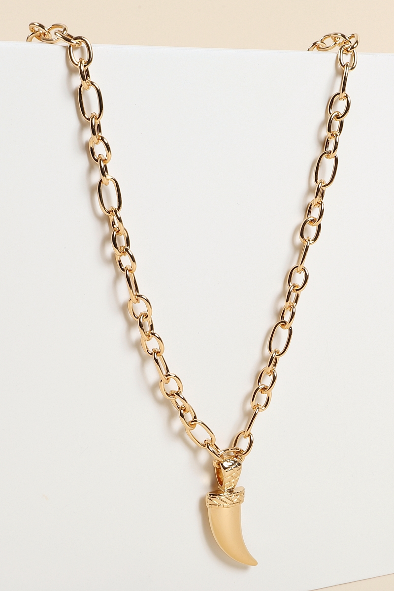 Metal Chain Horn Necklace - orangeshine.com