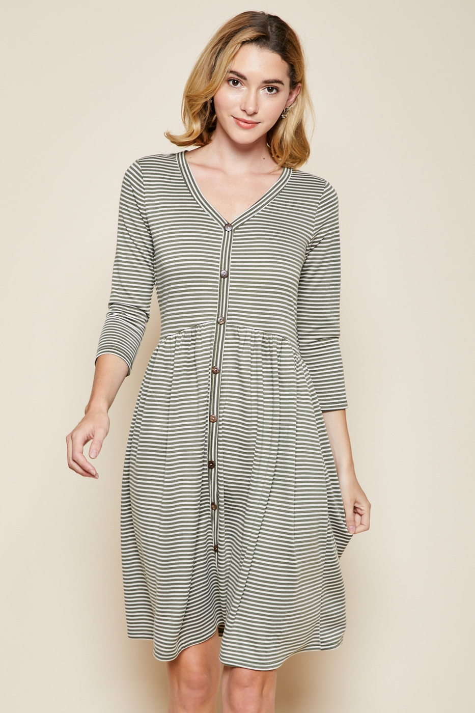 Striped Knee Length Button Down Dress - orangeshine.com