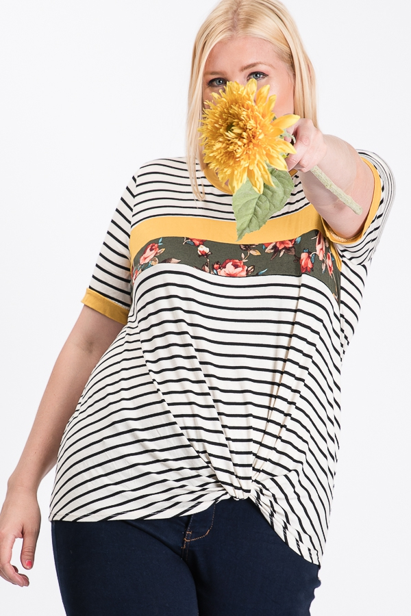 STRIPED KNOTTED TOP  - orangeshine.com