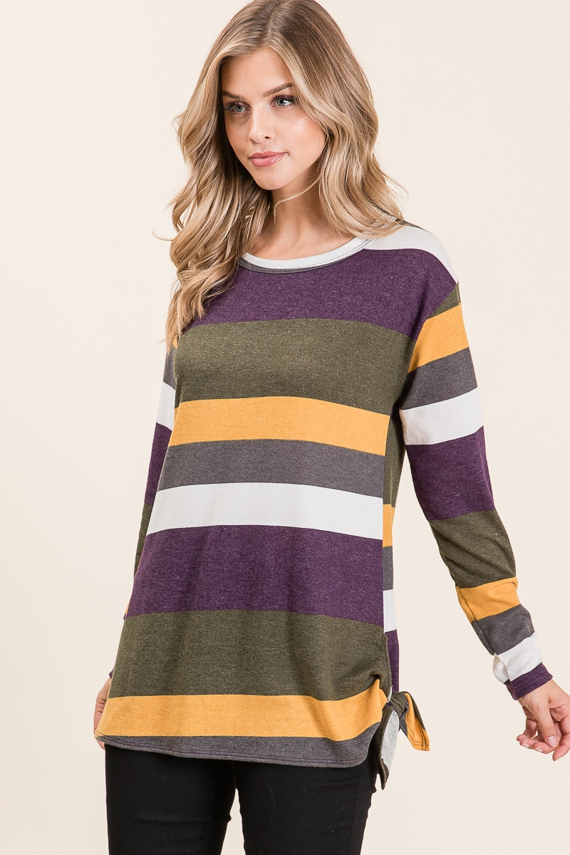 MULTI COLOR STRIPE PRINT TOP - orangeshine.com