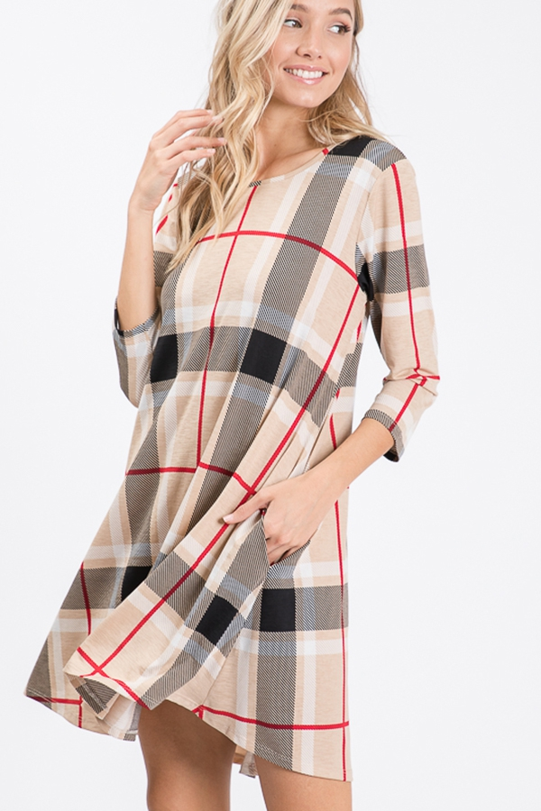 PLAID PRINT DRESS WITH SIDE POCKET - orangeshine.com