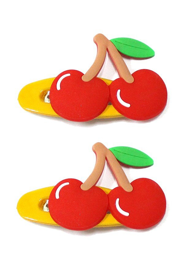 Set of two cherry snap hair clips - orangeshine.com