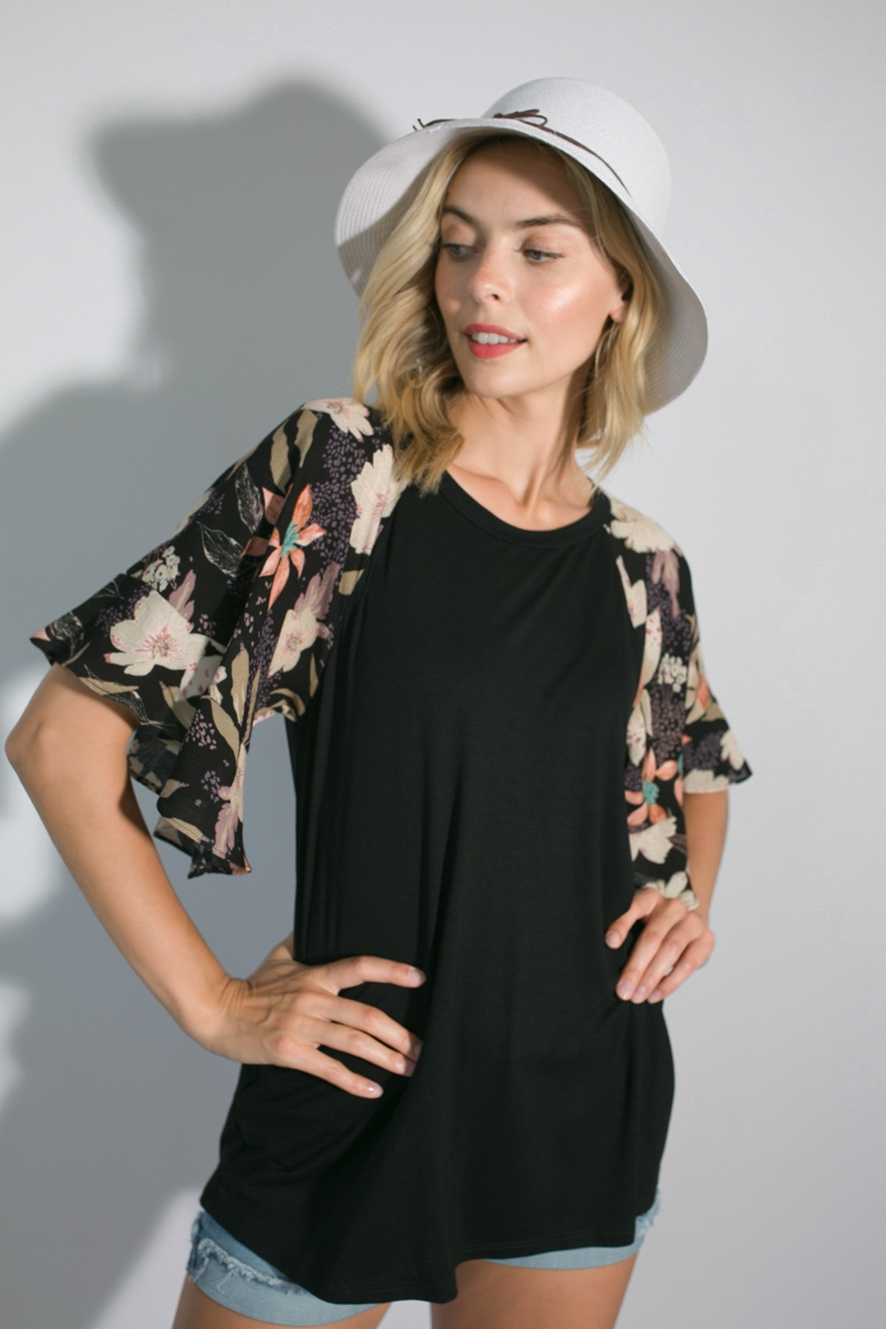 FLORAL SOLID MIXED RUFFLE SLEEVE TOP - orangeshine.com