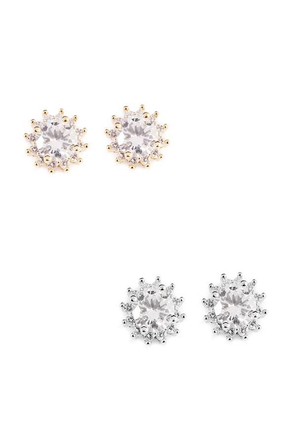 STAR DUST ROUND CUBIC EARRINGS - orangeshine.com