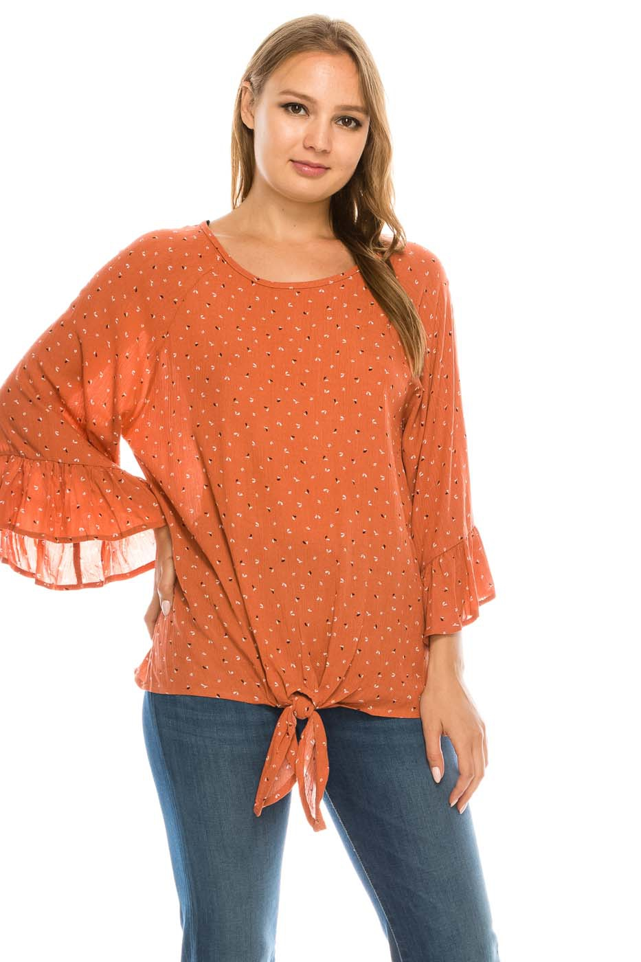 Crepon Bell Sleeve Top - orangeshine.com