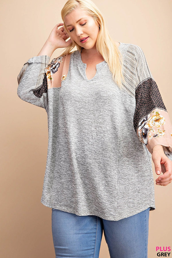 PRINT MIXED SLEEVE KNIT TOP - orangeshine.com