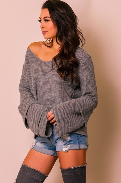 SWEATER V-NECK LONG SLEEVE DOUBLE BE - orangeshine.com