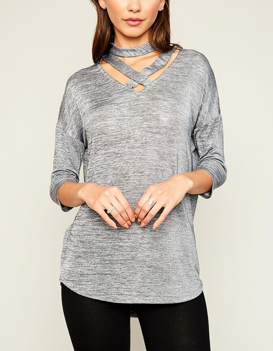 Cut-Out Choker Tee - orangeshine.com