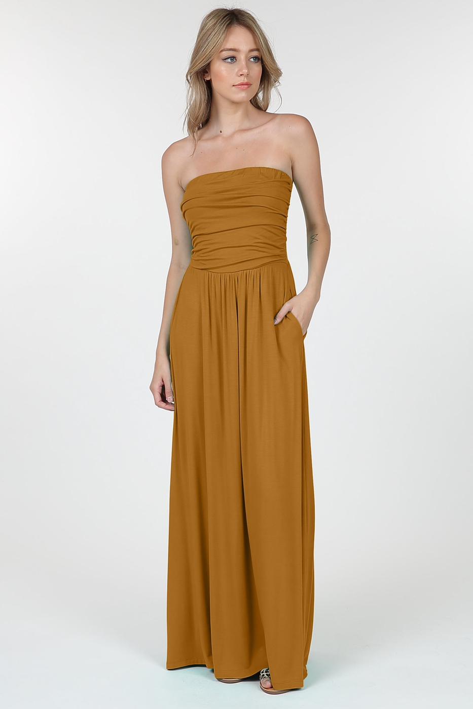 Strapless Tube Top Maxi Dress - orangeshine.com