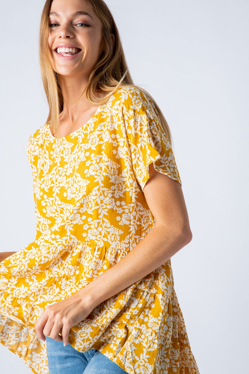 DROP SHOULDER TUNIC TOP WITH RUFFLE  - orangeshine.com