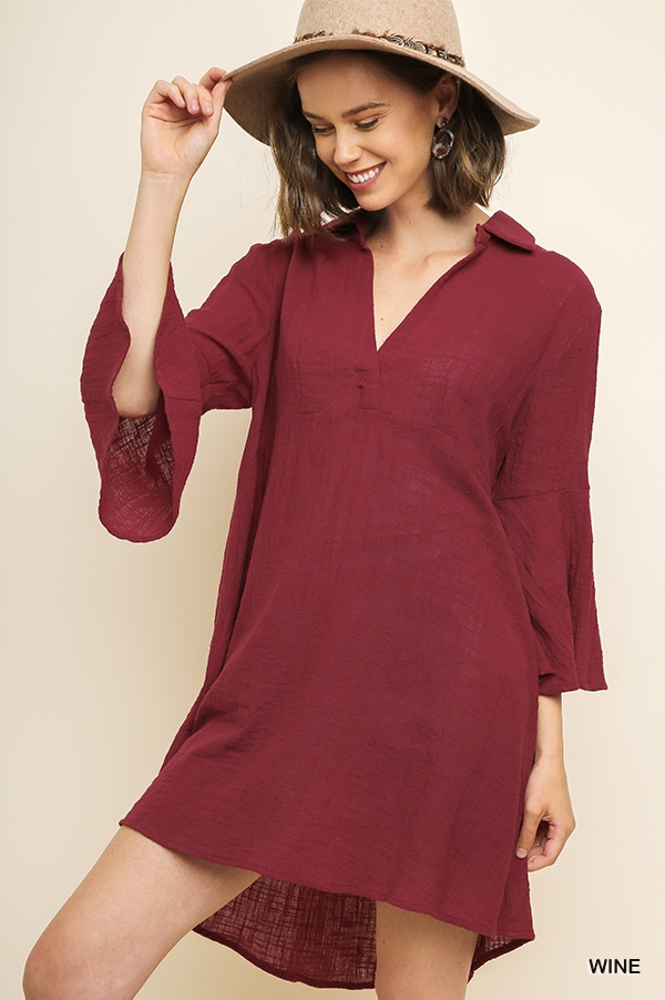 Bell Sleeve V-Neck Collared Dress - orangeshine.com
