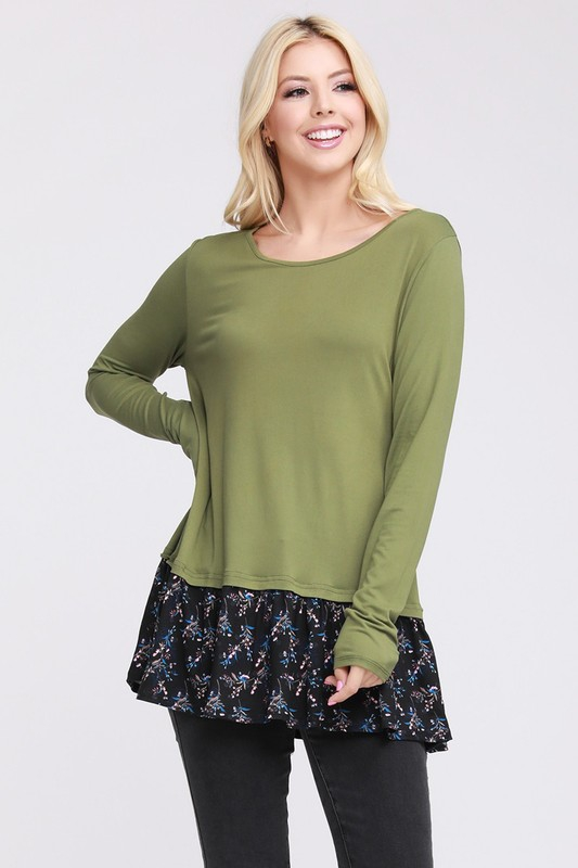 PLUS SIZE LONG SLEEVE W RUFFLE TOP - orangeshine.com