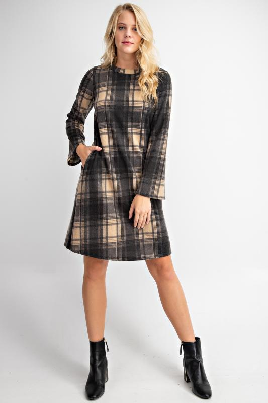 PLAID PRINTED KNIT MINI DRESS - orangeshine.com