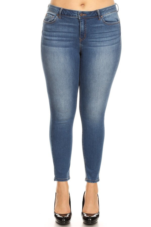 Plus Size Baisc Push Up Ankle Skinny - orangeshine.com