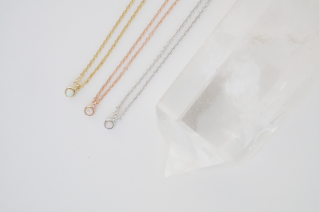 Opal Bezel Set Necklace - orangeshine.com