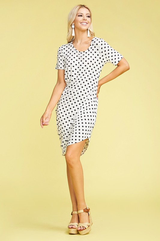 PLUS PRINT HALF SLEEVE DRAPED DRESS - orangeshine.com
