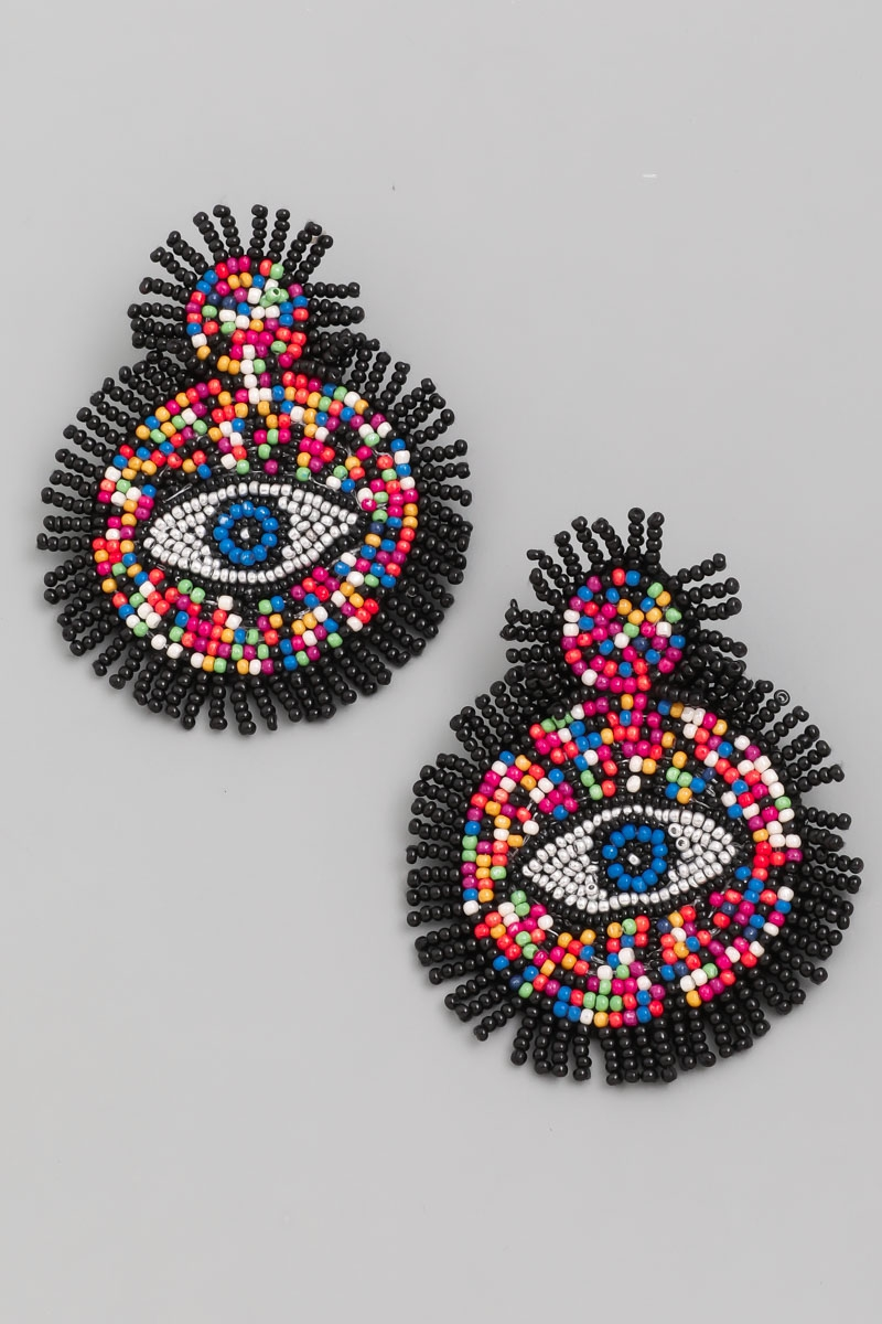 Beaded Circle Disc Eye Drop Earrings - orangeshine.com