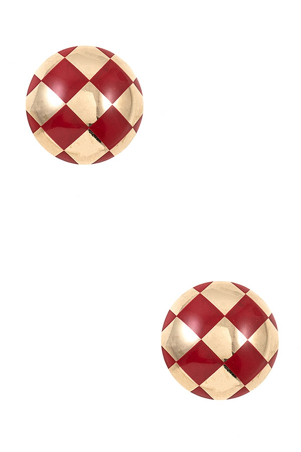 CHECKERED PATTERN HALF ORB POST EARR - orangeshine.com