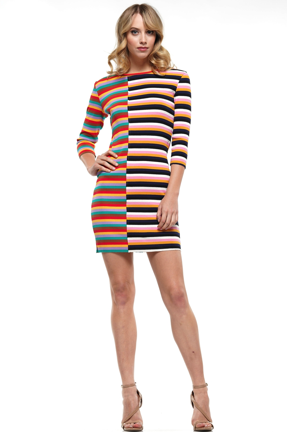 RAINBOW MINI RIBBED DRESS - orangeshine.com