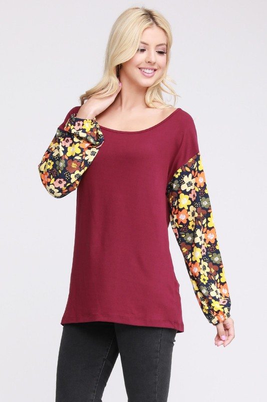 PLUS CONTRAST BALLOON SLEEVE TOP - orangeshine.com
