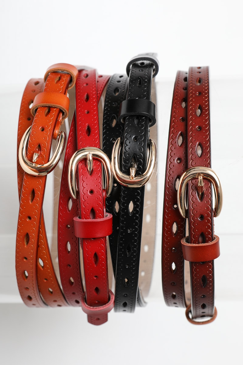 Scallop Skinny Leather Belt - orangeshine.com