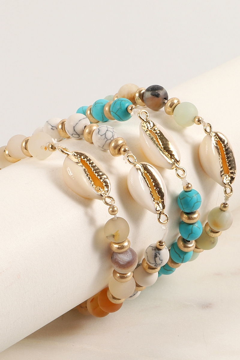 Natural Stone Beads Shell Bracelet - orangeshine.com