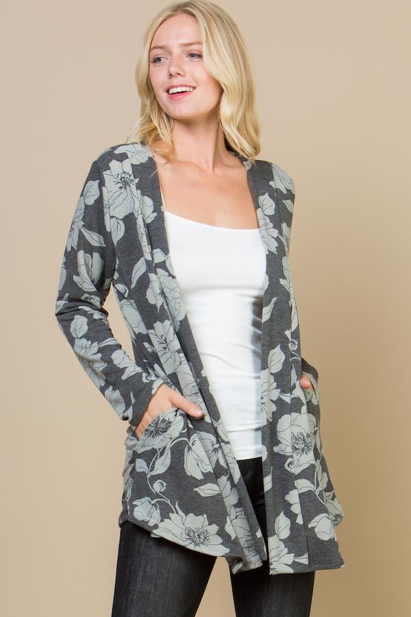 Floral Long Sleeves Cardigan - orangeshine.com