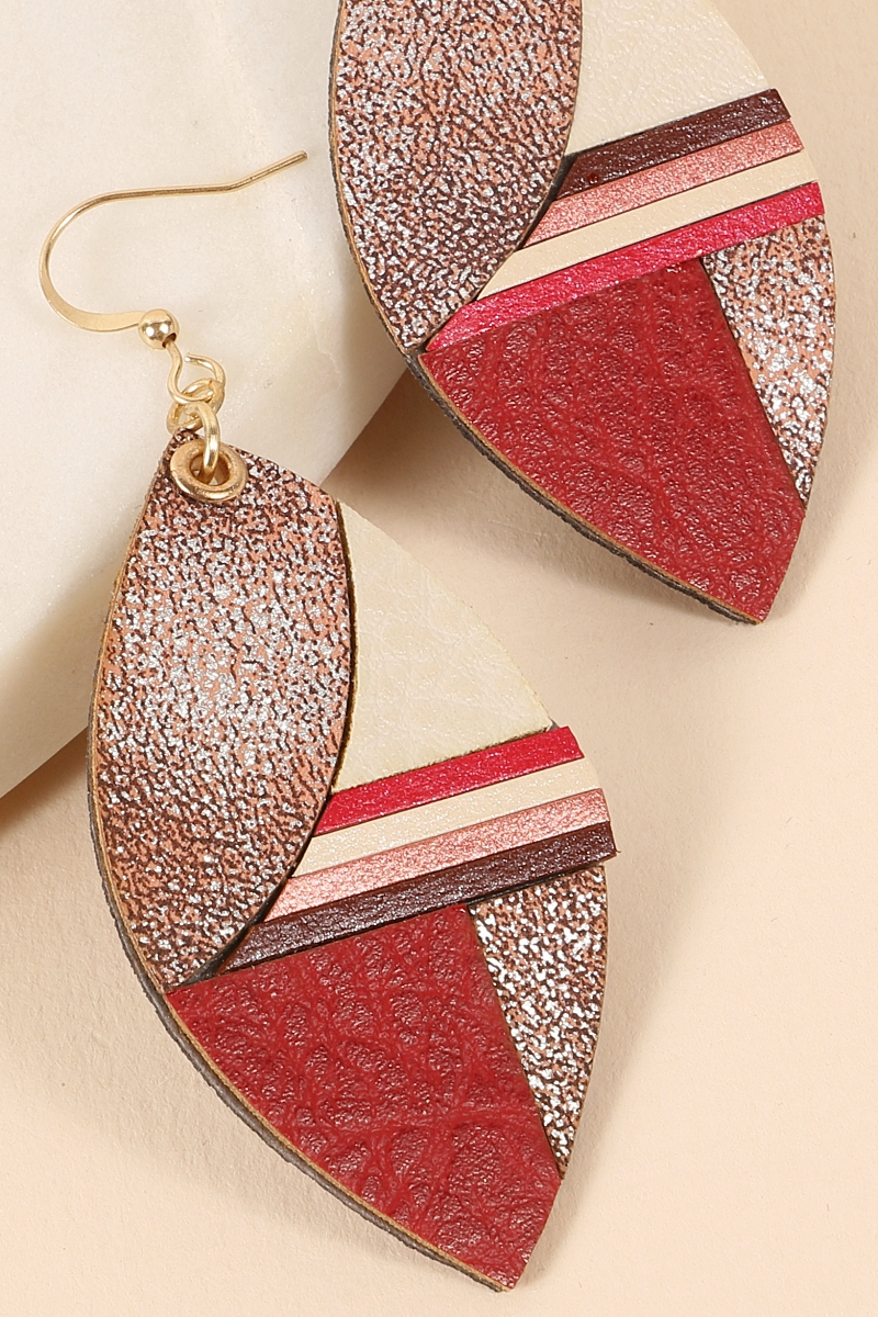 PU Leather Tear Drop Earrings - orangeshine.com