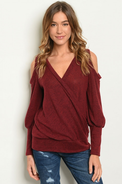 Long sleeve cold shoulder TOP - orangeshine.com