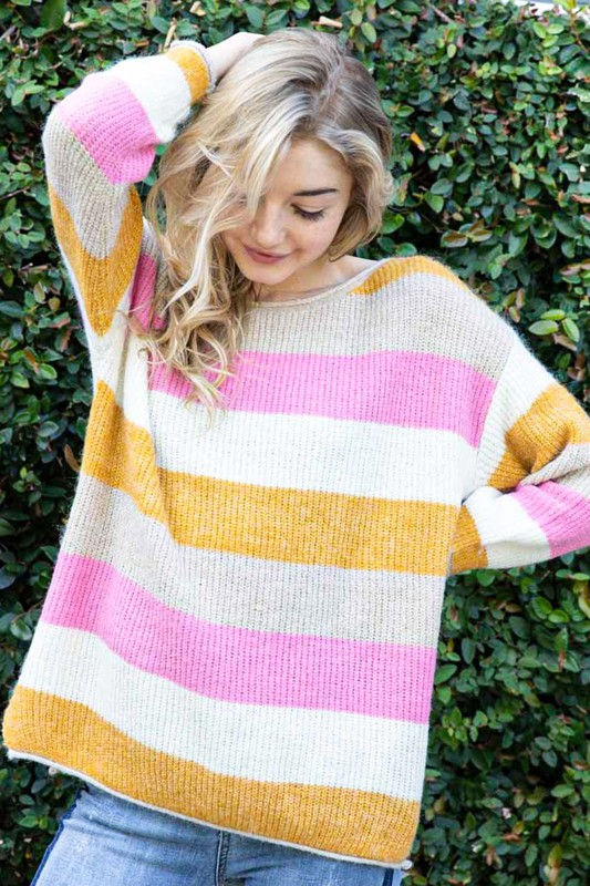 STRIPE COLORBLOCK COZY KNIT SWEATER - orangeshine.com