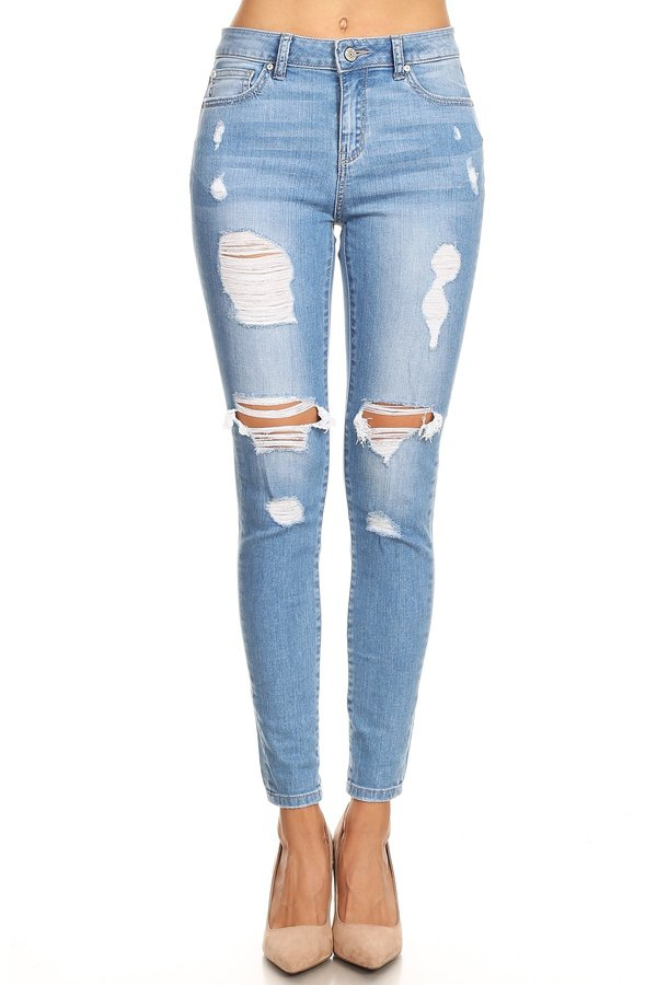 High rise Distressed Ankle Skinny - orangeshine.com