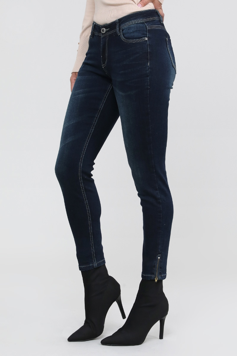 FIVE POCKET SIDE ZIPPER DETAIL JEANS - orangeshine.com